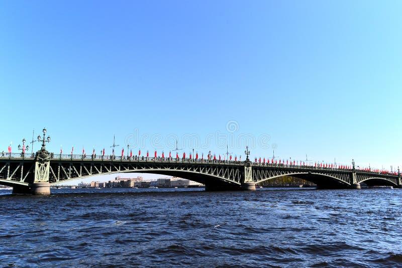 Bridge over the Neva river in St. Petersburg stock photography