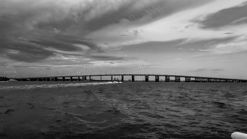 Bridge over ocean stock image