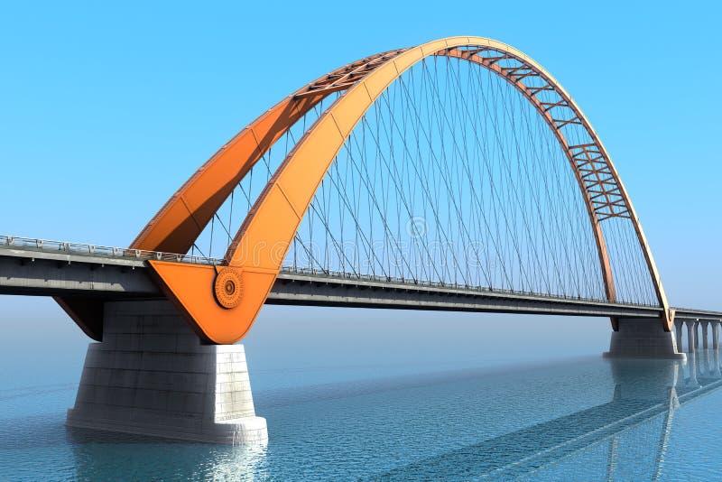 Bridge over the ocean. 3d illustration royalty free illustration