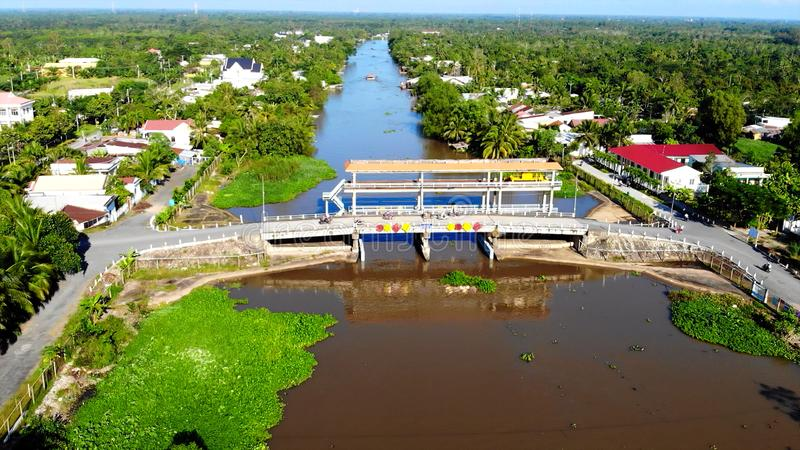 Bridge over one of the internal rivers of Oceania. In the photo You can see Bridge over one of the internal rivers of Oceania stock images