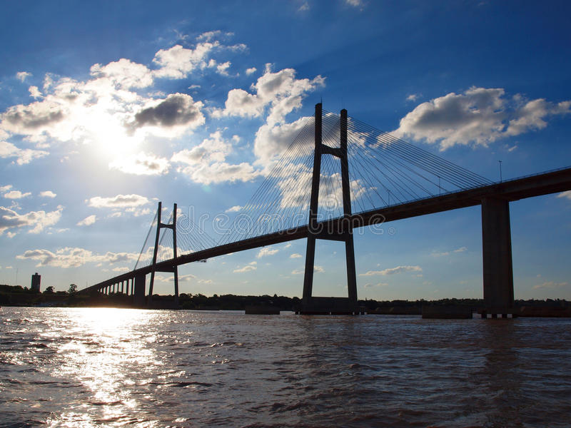 Bridge over parana river stock photography