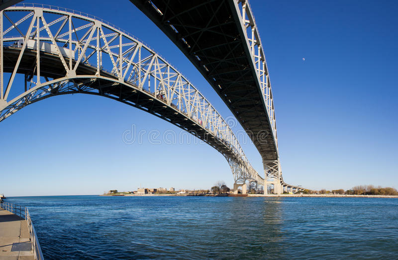 Bridge over a River. Image of the Bluewater Bridge crossing into Canada stock photos