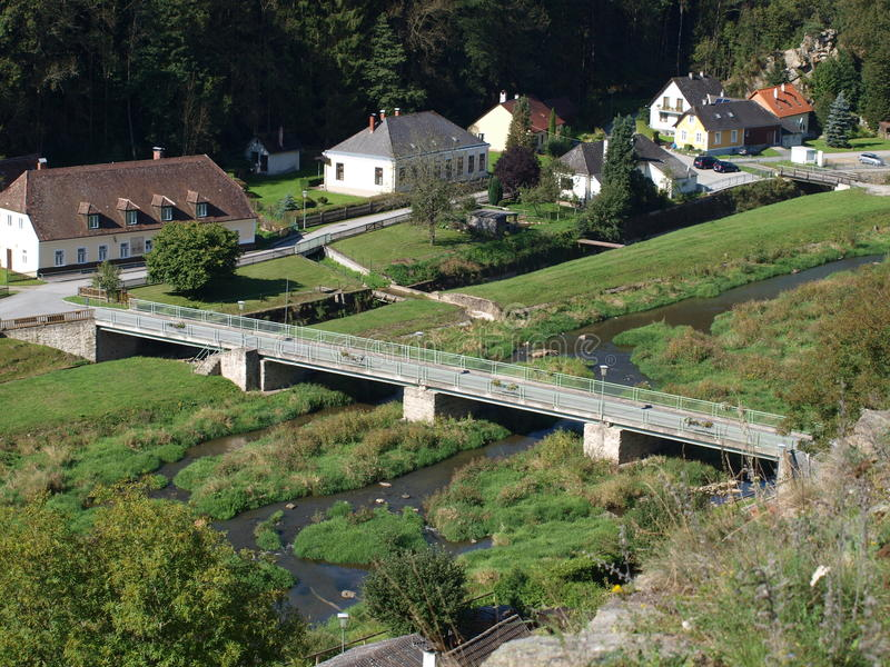 Bridge over the river. Thaya in the village Kollmitzgraben Niederösterreich royalty free stock photography
