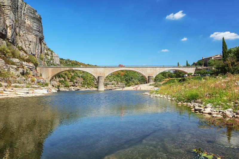 The bridge over the River Ardeche near the old village Balazuc i stock images