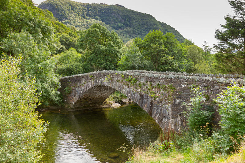 Bridge over river Derwent at Grange, Borrowdale, near Keswick, U. Bridge over the river Derwent at Grange in Borrowdale, near Keswick in the northern English royalty free stock images