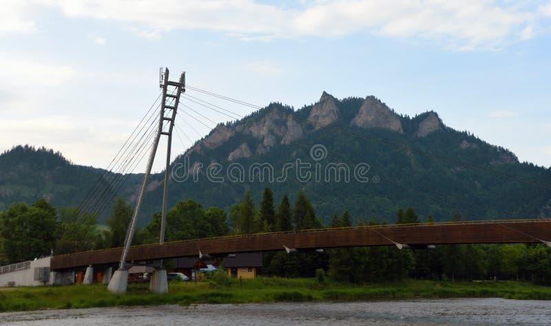 Bridge over river Dunajec. In mountains Pieniny stock image