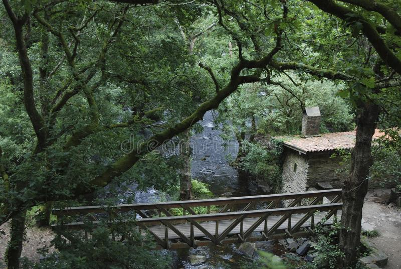 Bridge over a river, a fantasy view stock photography