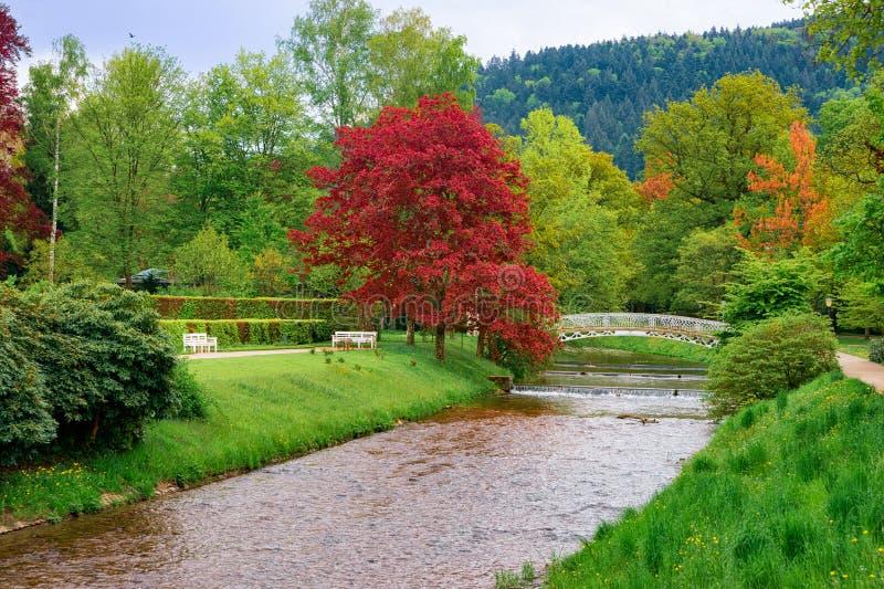 Bridge over river at Gonneranlage Kurpark in Baden Baden Germany royalty free stock photos