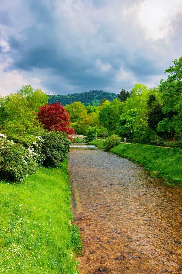 Bridge over river in Gonneranlage Kurpark in Baden Baden Germany stock photos
