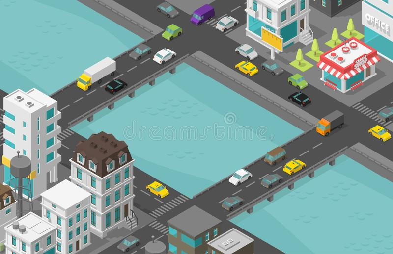 Bridge over river Isometric city. Two bridges. Town houses district street. Cars end buildings. Cityscape infrastructure. Urban stock illustration