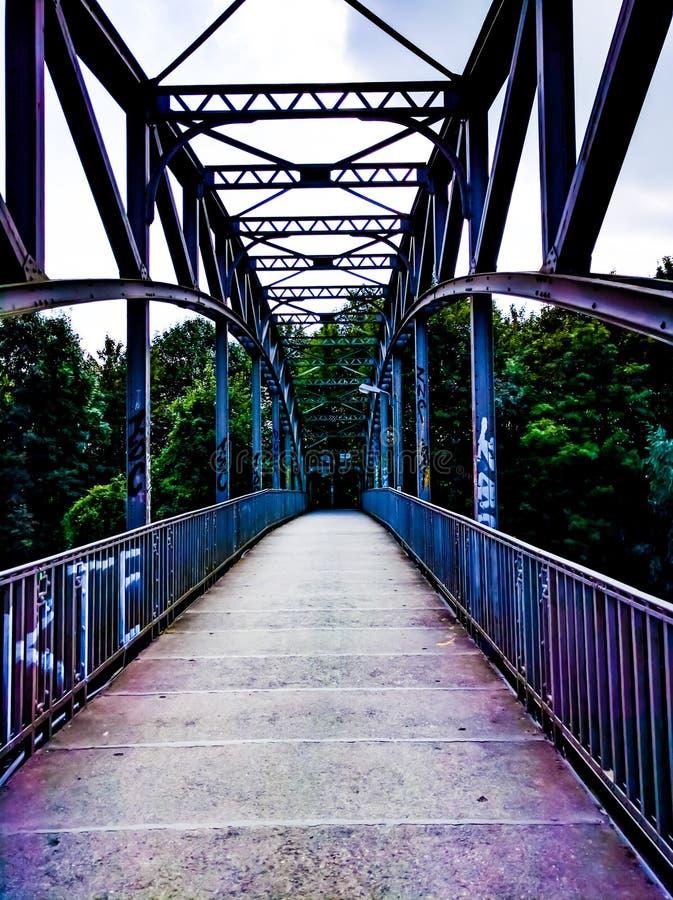 Bridge over river Leine stock images