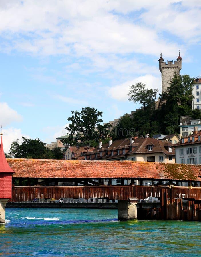 Bridge over the river in Luzern stock image