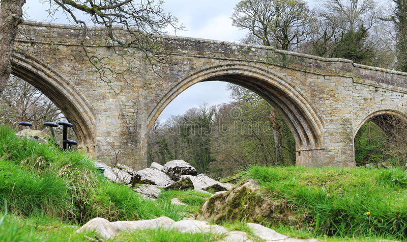 Bridge over a river. Medieval Devils Bridge over the River Lune in Kirkby Lonsdale, Cumbria stock photo