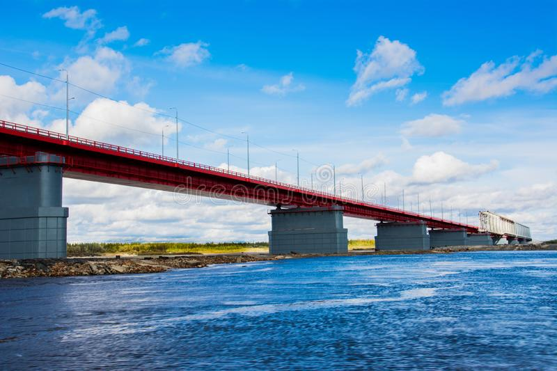 The bridge over the river Nadym. Yamal. Arctic nature. Beutifull landscape royalty free stock photo