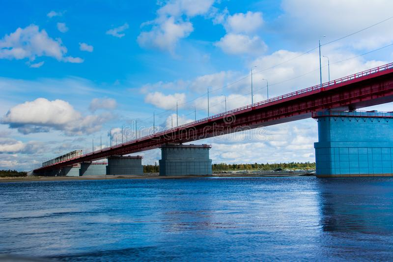 The bridge over the river Nadym. Yamal. Arctic nature. Landscape stock photos
