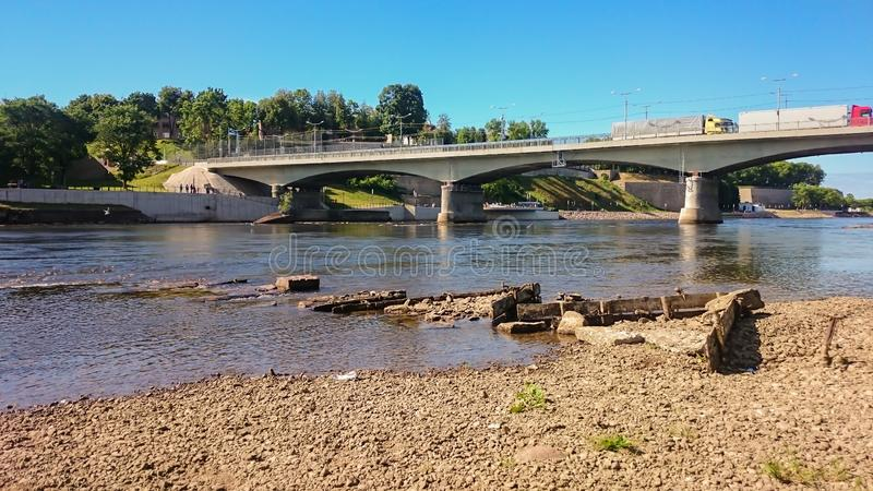 The bridge over the river stock image