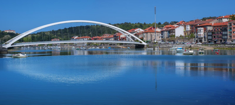 Bridge over the river in Plentzia, Bizkaia royalty free stock photography
