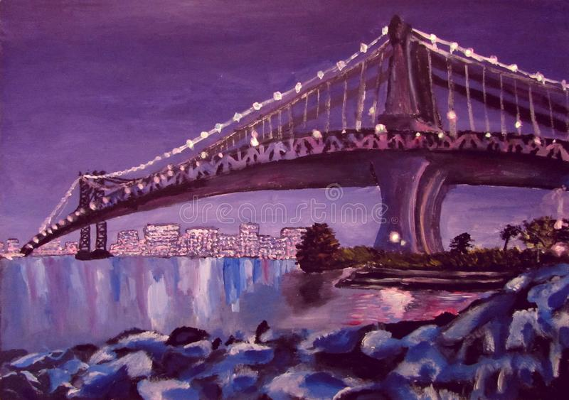 Bridge over the river and reflection of the city in the water at night acrylic. Children`s artwork royalty free stock image
