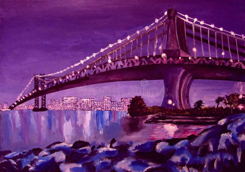 Bridge over the river and reflection of the city in the water at night acrylic royalty free illustration