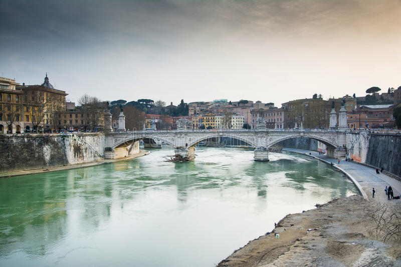 Bridge over the river's tevere. View from castel sant'angelo bridge.Rome and his river tevere stock photos