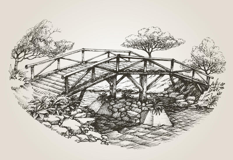 Bridge over river sketch stock illustration