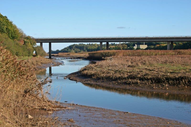 Bridge over River Teign stock images