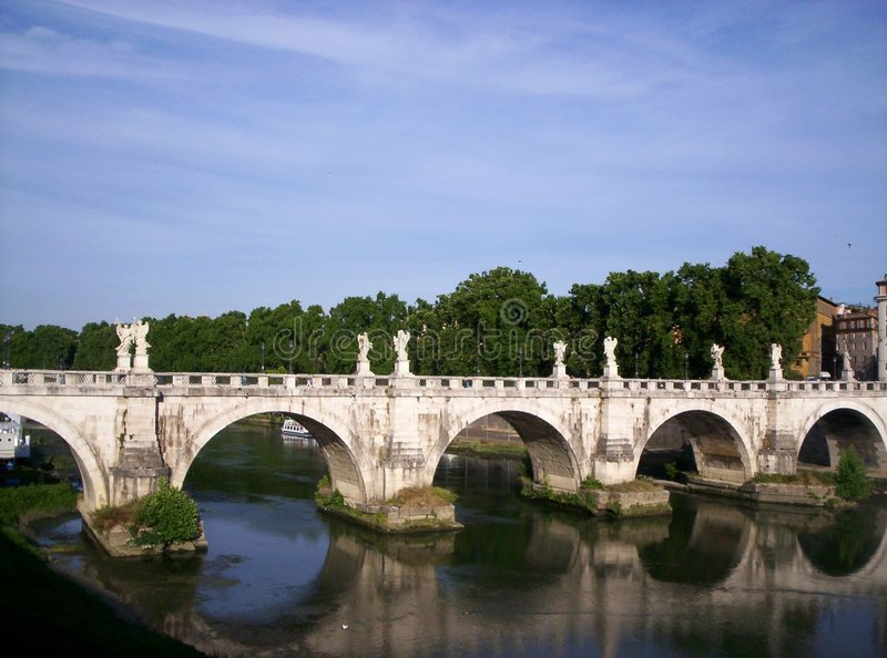 Bridge over the River Tiber stock images