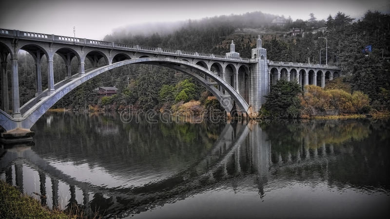 Bridge over the Rogue River stock photos