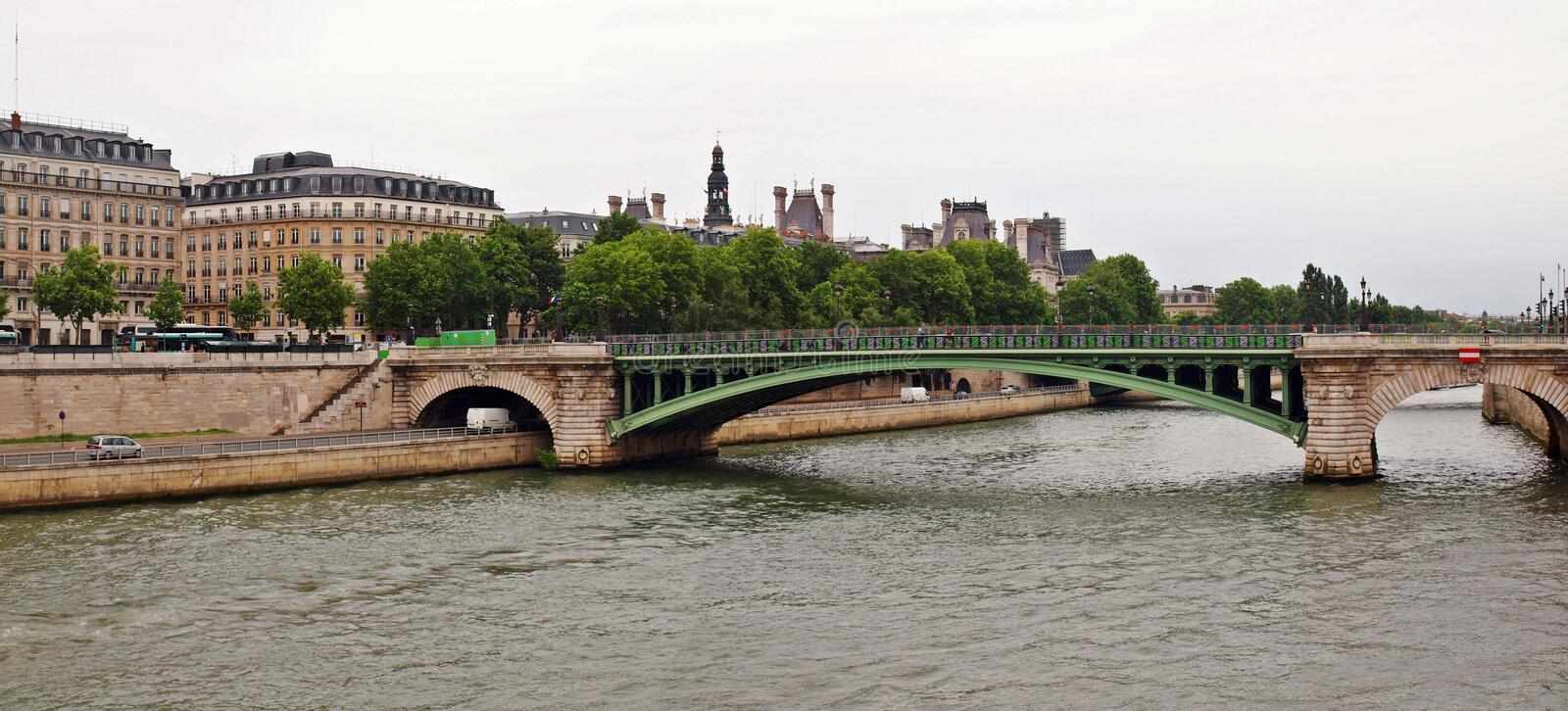 Bridge over Seine river in Paris city. France. Bridge over Seine river in Paris city stock photos