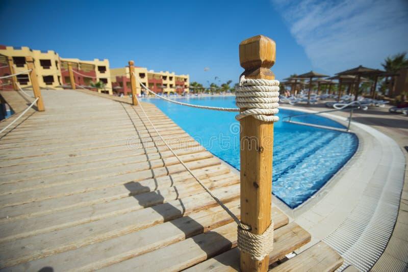 Bridge Over Swimming Pool At Tropical Hotel Resort Stock ...