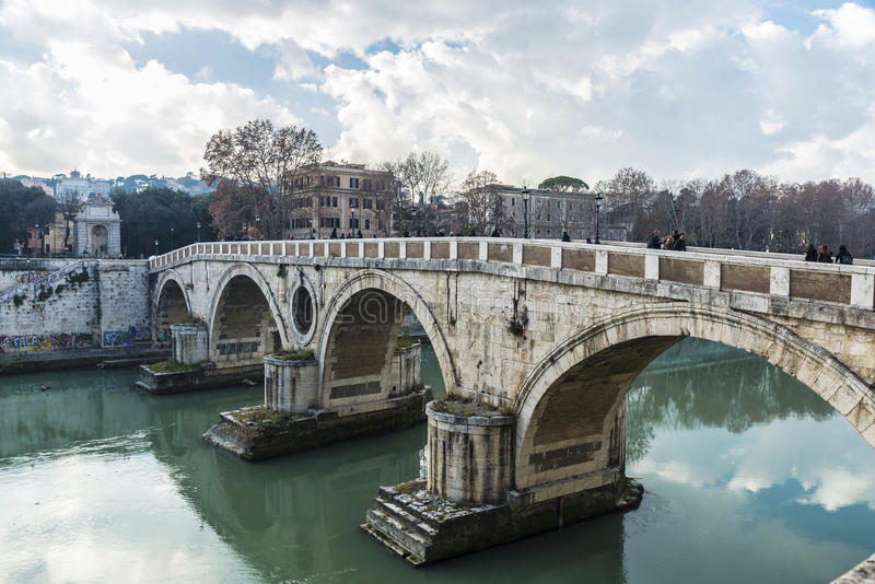 Download Bridge Over The Tiber River In Rome, Italy Editorial Stock Image - Image of heritage, europe: 88348739