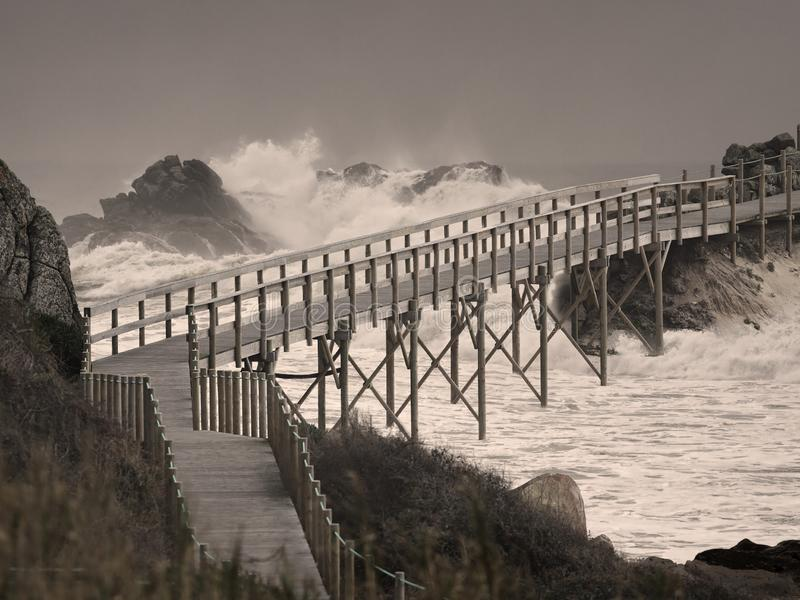 Bridge over troubled waters. Wooden bridge over troubled waters. Photo composition vector illustration