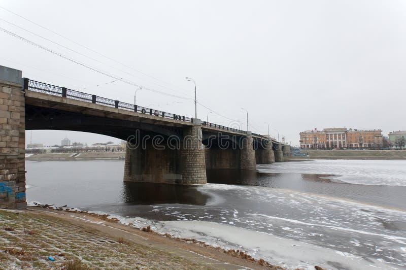 Bridge over Volga river stock photos
