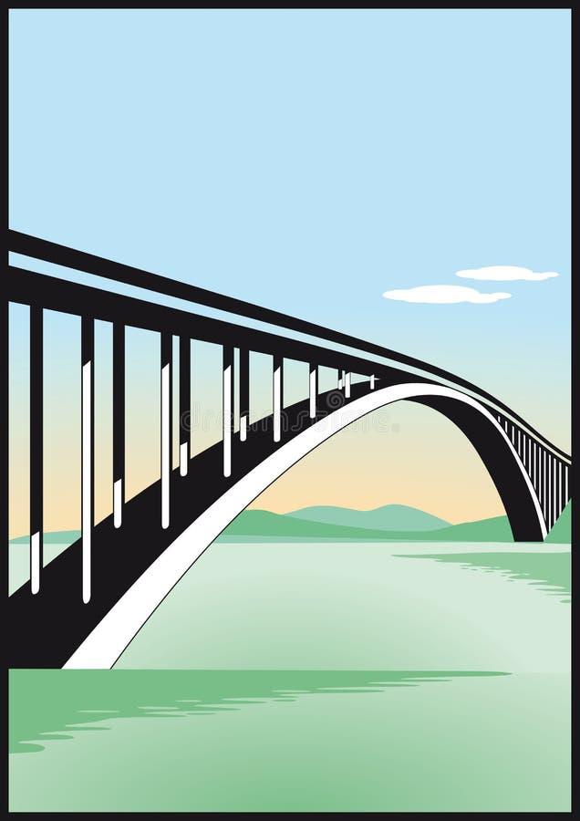 Bridge over water royalty free illustration
