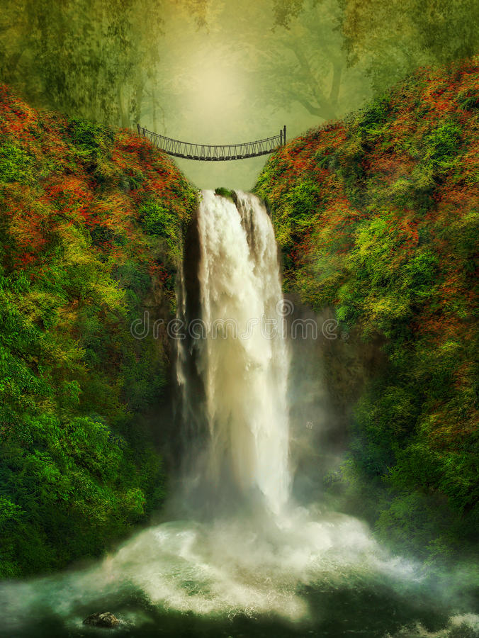 A bridge over the waterfall royalty free stock images