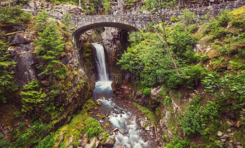 Waterfall in Rainier stock image