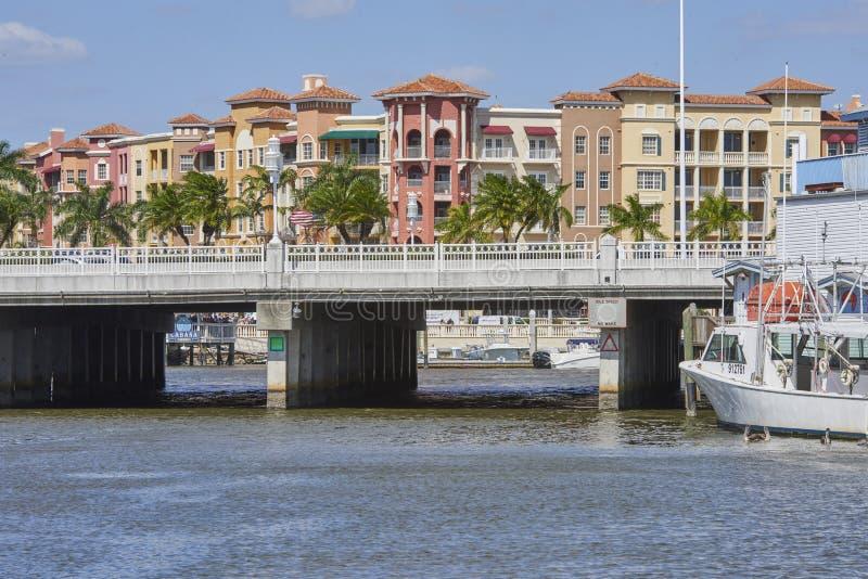 Bridge over waterway. In Tin City - Naples, Florida royalty free stock images
