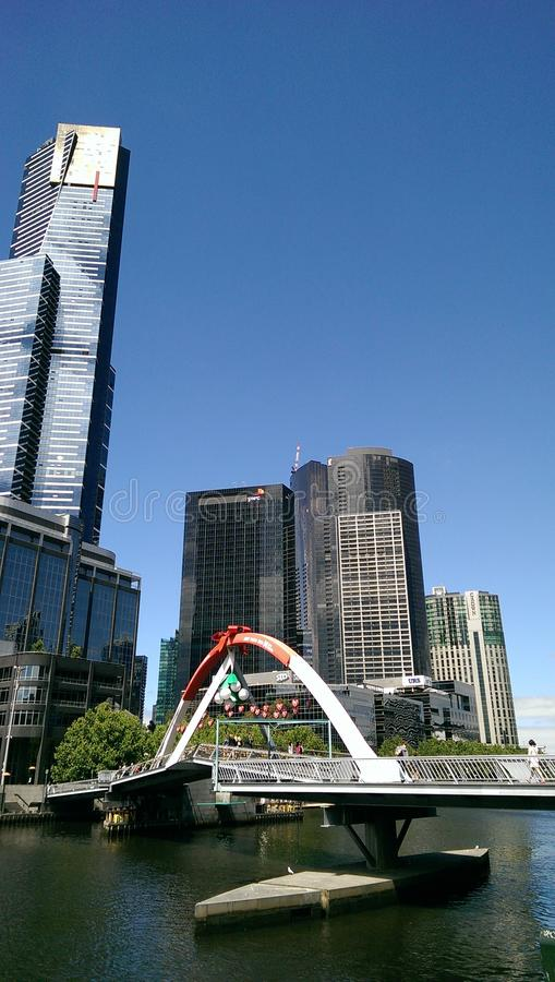 The bridge over the Yarra river in the CBD of Melbourne royalty free stock photo