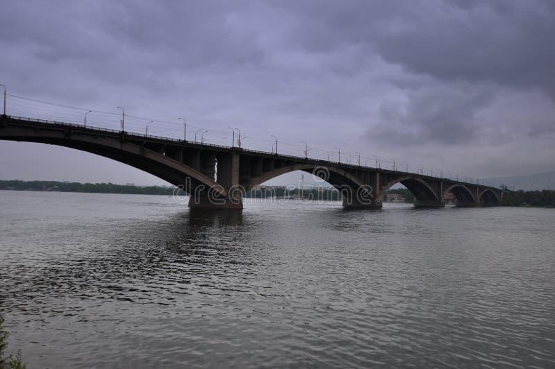 Bridge over the Yenisei stock image