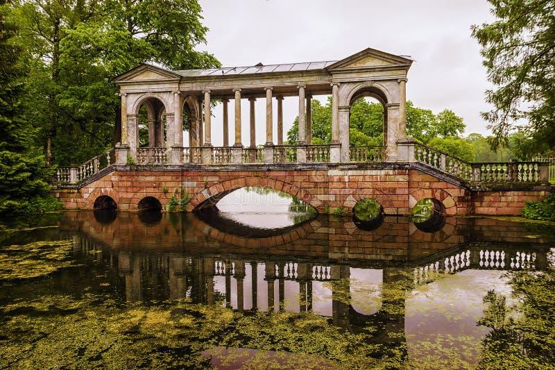 The bridge in the park of Tsarskoye Selo. St. Petersburg, Russia.  royalty free stock image