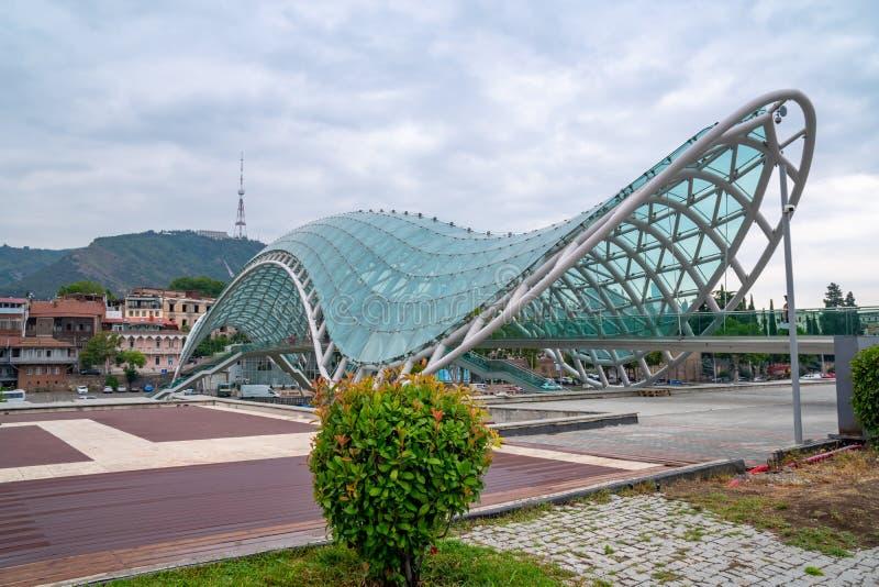 Bridge of Peace over the Kura River in Tibilisi, Georgia. Travel royalty free stock photography