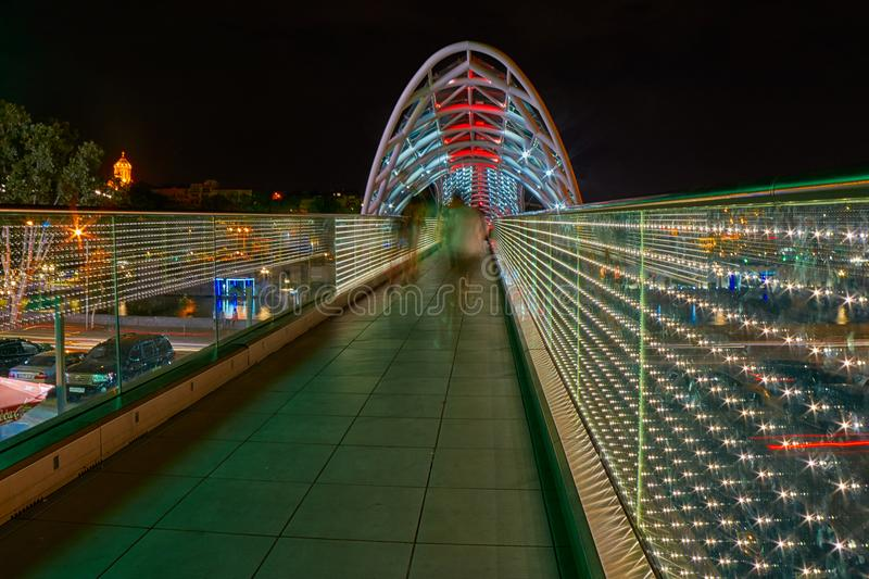 Bridge of Peace in Tbilisi at Night royalty free stock image