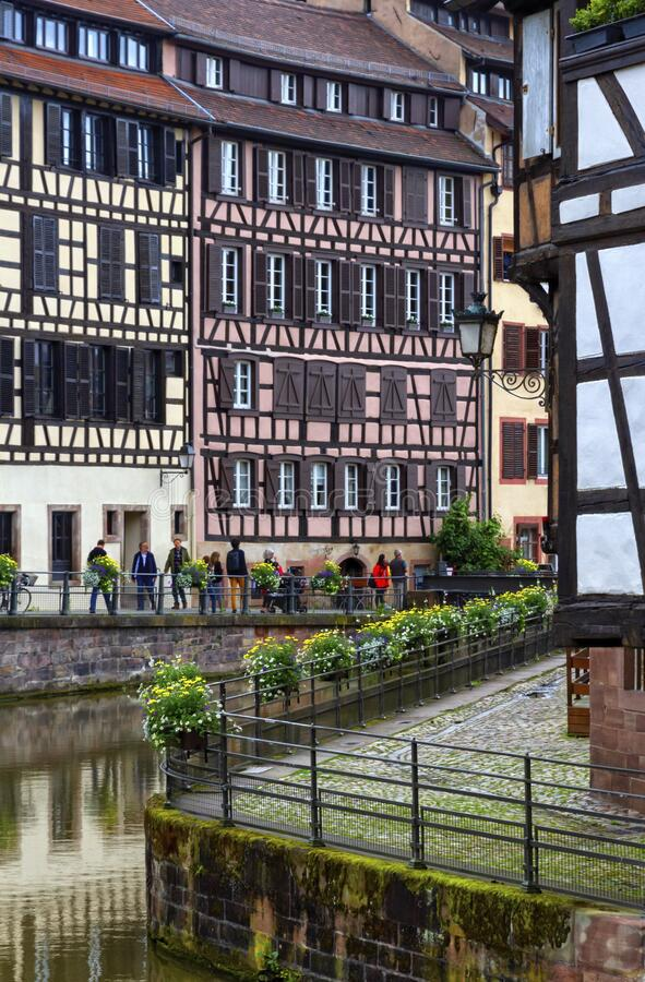 Historical houses in Petite France, Strasbourg stock images
