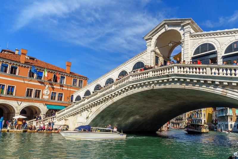 Bridge Ponte di Rialto over Grand Canal in Venice. Italy royalty free stock image