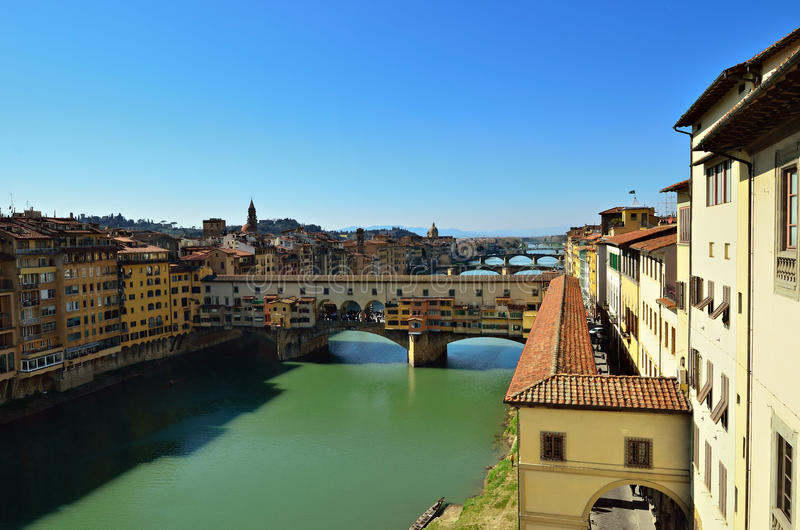 Bridge of Ponte Vecchio. View on the Arno river and of Ponte vecchio at Firenze - Italy stock images