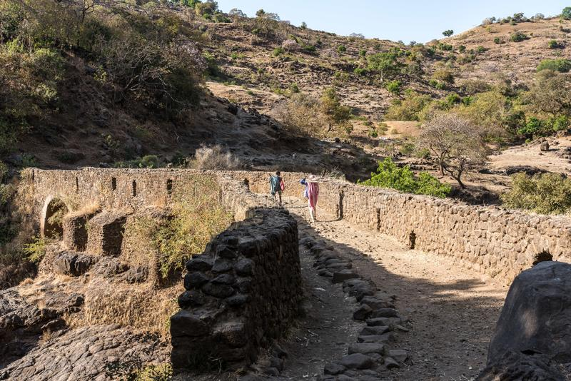 Bridge of the Portuguese on the river Blue Nile. Ethiopia.  royalty free stock images