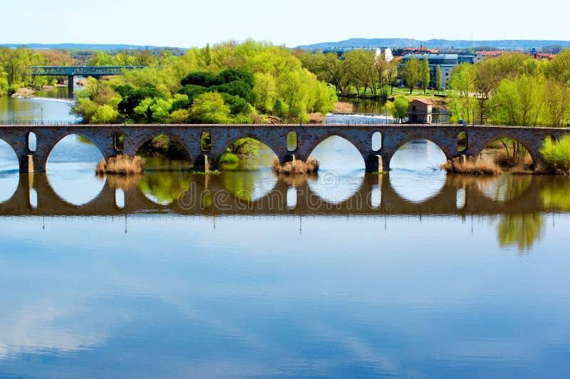 Bridge Puente de Piedra across River Douro in Zamora stock image