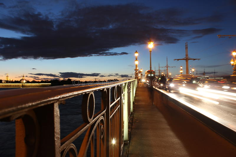 Bridge railing on the night. royalty free stock photography