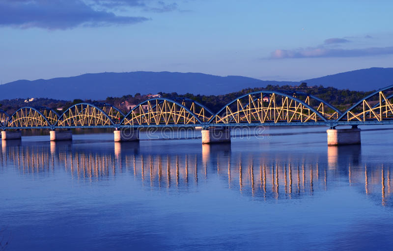 Bridge with reflection. royalty free stock images