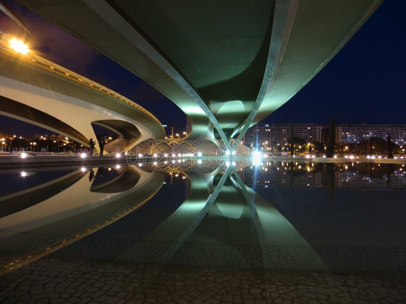 Bridge reflection in valencia stock photos